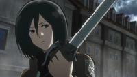 Mikasa kills the abnormal Titan