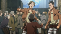 Eren confronts a military guard