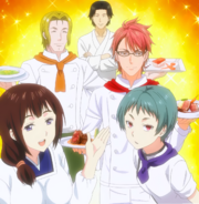 The alumni cooking for the passed students (anime)