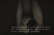James in a corridor with newspapers