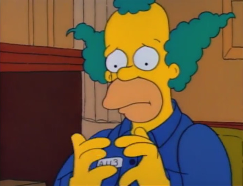 File:Krusty the Clown sad and flushed when Sideshow Bob framed him.jpg