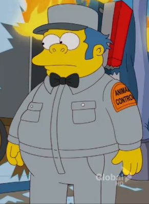 File:Clancy Wiggum young working in Animal Control.png