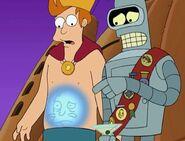 Homer badge on Bender's sash