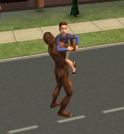 Bigfoot hugging a child