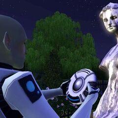 Пришелец сканирует статую