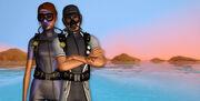 Sims scuba diving