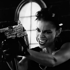 Gail takes aim in <i>A Dame To Kill For</i>.