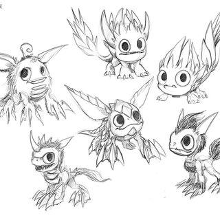 Otros bocetos, dándole una apariencia de cuadrúpedo, y un aspecto similar a <a href=