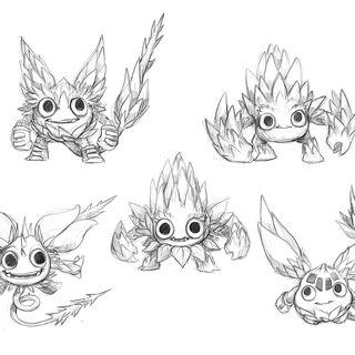 Otros bocetos, pero apariencias distintas al final.