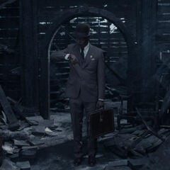 Mr. Poe in the ruins of the Baudelaire mansion.