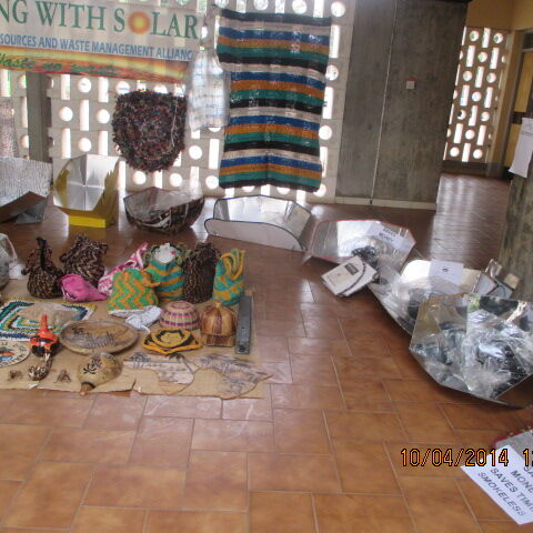 Solar Cookers and plastic waste recycled items made by <a href=