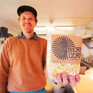 Bjorn with a bag of Qorn