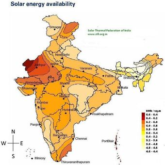 India Solar Radiation Map 2015