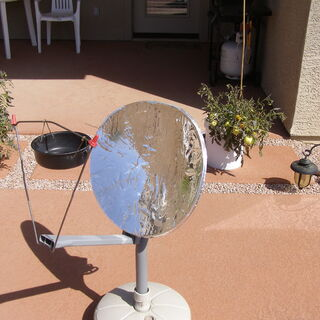 Have you ever wondered what to do with that old TV dish hanging on your home? Put some Mylar film inside the dish, hand a pot in front of it and cook!!!