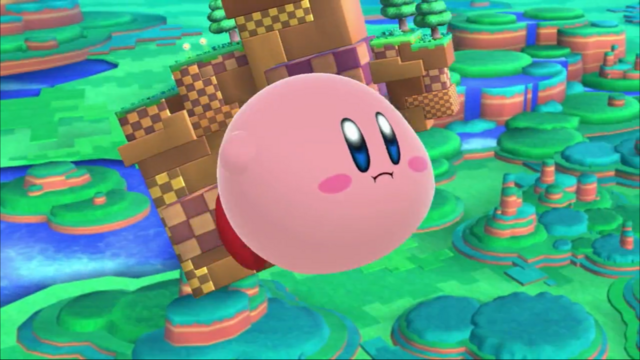 File:SSB4 Kirby Flying through Windy Hill.png
