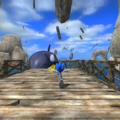 Sonic siendo perseguido por la Orca.
