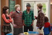 Chad talking to Sonny, Cloudy(Grady) and Rainy (Nico)