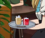 Cafe au lait and raspberry juice