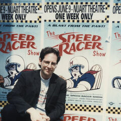Jerry Beck in front of the film's one sheet