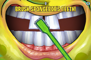 Cavity Crisis brush Spongebob's teeth