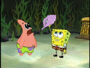 Patrick & Spongebob holding The Magic Conch Shell