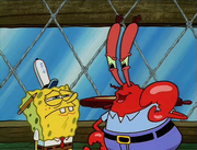 Sad SpongeBob with Angry Mr. Krabs