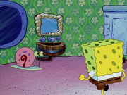 Spongesnail looking through Squidward's window