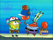 Mr. Krabs holding Air Conditioner Hat