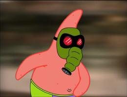 Patrick Wearing a Gas Mask