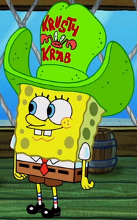 SpongeBob with a green foam hat