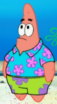 Patrick Wearing a Hawaiian Shirt