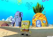 3d Spongebob, His 3d Pineapple, 3d Patrick's 3d Rock, & 3d Squidward's 3d Moai