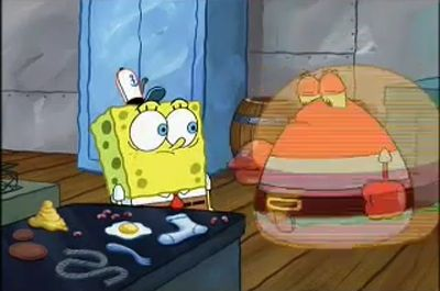 File:Here's Mr. Krabs in the middle of morphing into a Krabby Patty.jpg