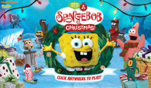 It's a SpongeBob Christmas game old title screen