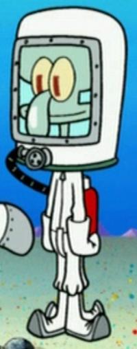 Squidward Wearing a Hazmat Suit