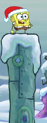 File:Spongebob Winter RUNerland Spongebob on light blue building.png