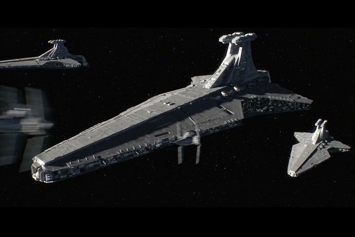 V Wings flying alongside Venator class Destroyers