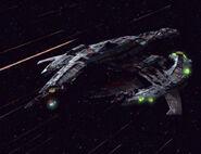 Breen warship at warp