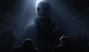 Snoke speaks to Kylo Ren and Hux