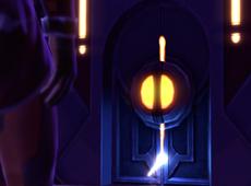 Knight slices door
