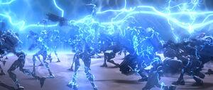 Electro-proton bomb effect