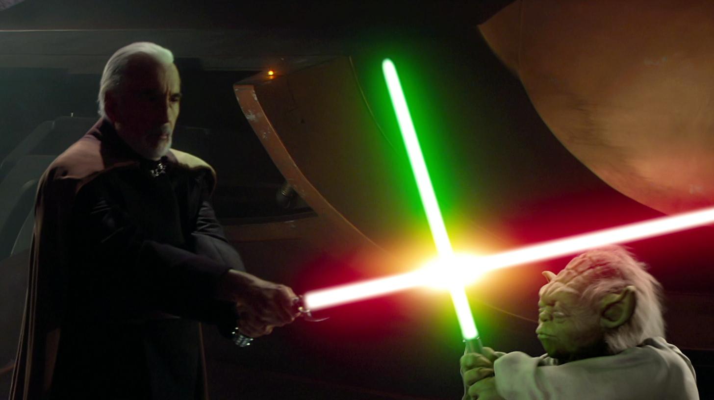 Yoda Dance Gif Dooku and Yoda battle each