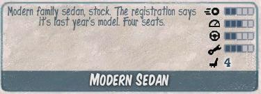 Modern sedan infocard