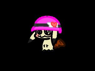 Chibi Mimikyu, wearing a heart with wings hat