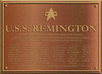 USS Remington Dedication Plaque