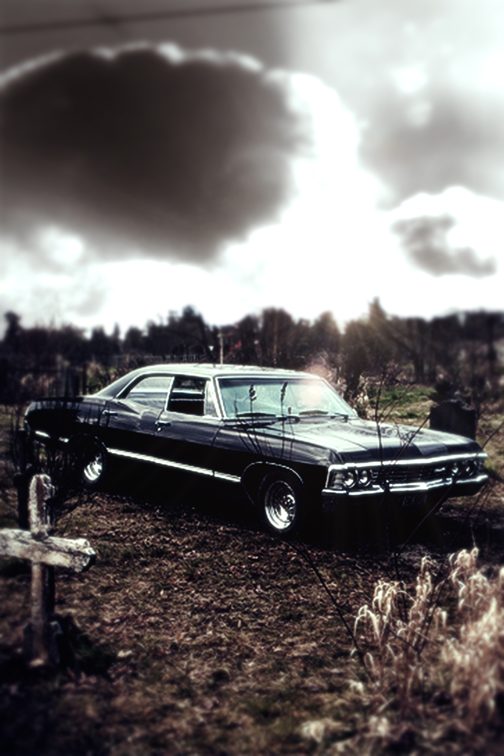 Image supernatural 67 chevy impala iphone wallpaper by - Supernatural phone background ...
