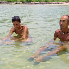 Tai and Michele in the water.