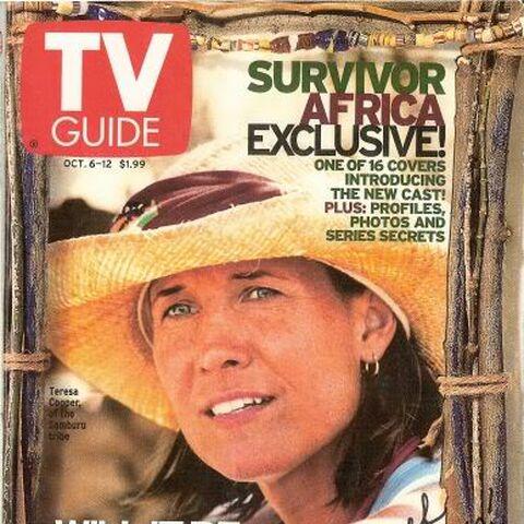 Teresa on the cover of <i>TVGuide Magazine</i>.