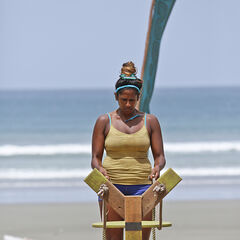 Natalie competing at the first individual Immunity Challenge.
