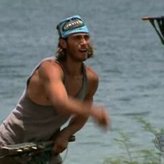 Brandon at the first challenge after the tribe switch.